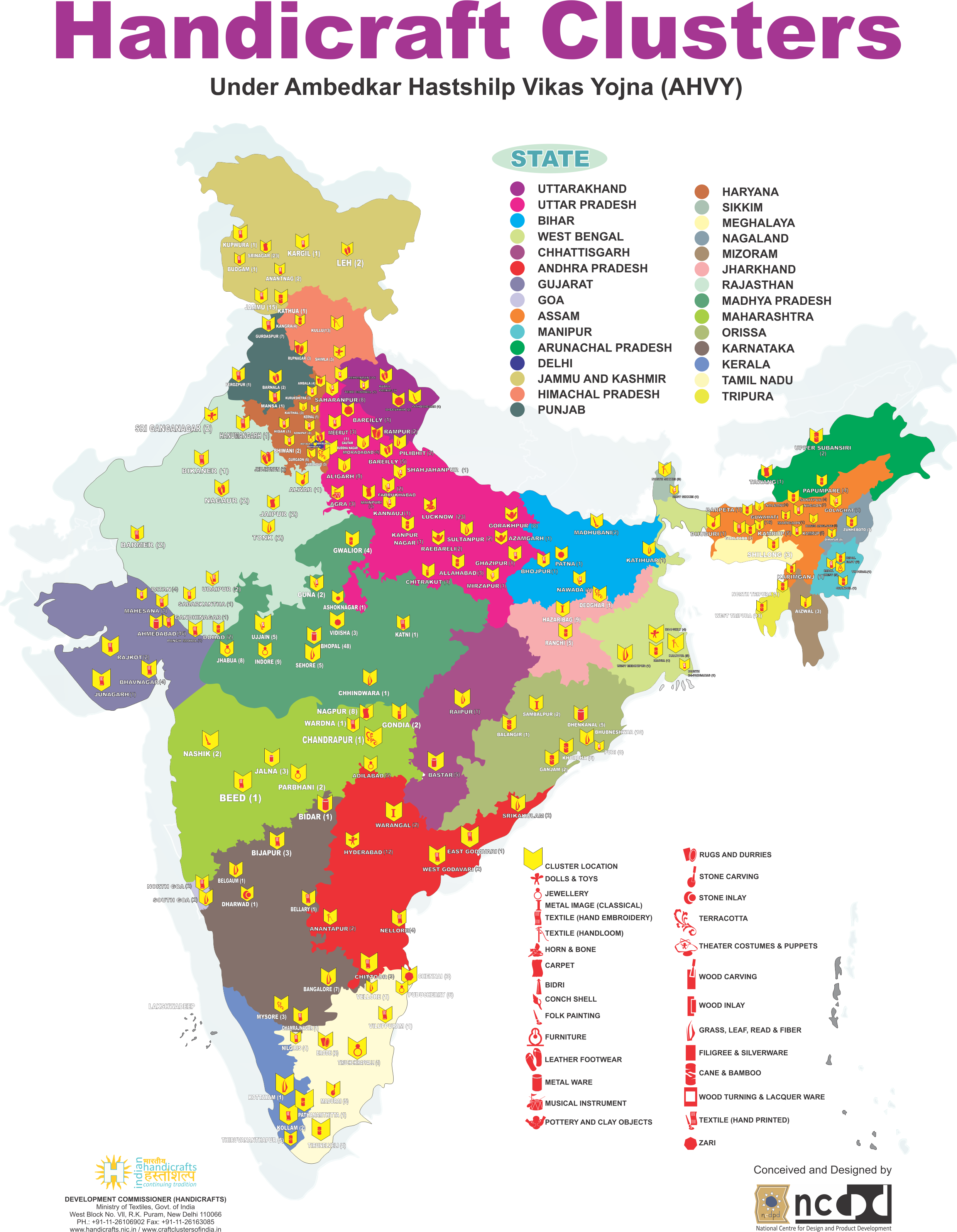 Survey Amp Studies Handicrafts Clusters Location Map Of